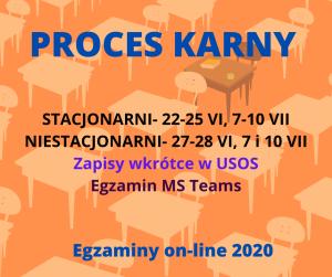 Egzaminy zdalne z Procesu karnego 2020